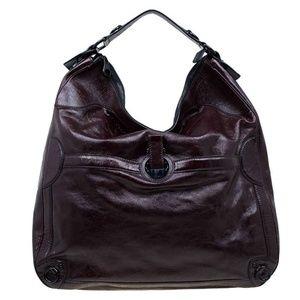 * Alexander McQueen Glazed Leather Burgundy Hobo